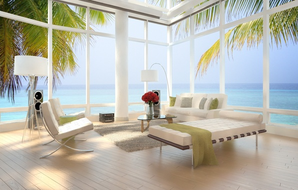 Картинка дизайн, пальмы, стулья, современный, квартира, design, кровати, Интерьер, стильный, вид на море, palm trees, bed, ...
