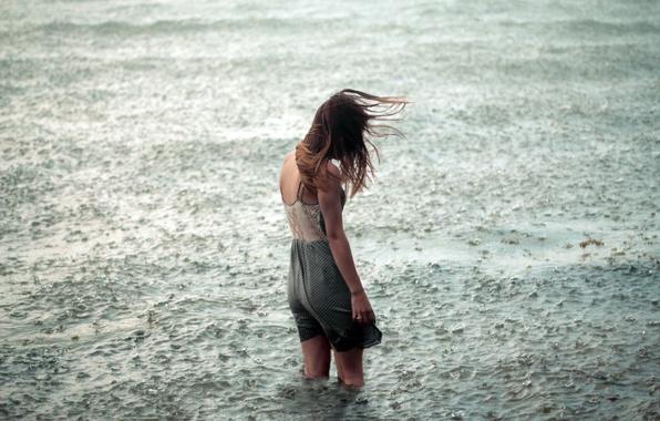 Картинка вода, девушка, одиночество, дождь, настроение