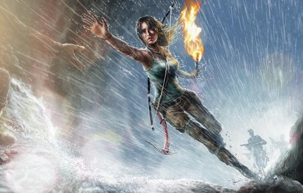 Картинка девушка, дождь, рука, арт, бег, факел, Lara Croft, Tomb raider