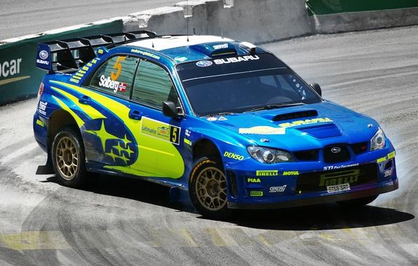 Картинка Дорога, Синий, Subaru, Impreza, Машина, Асфальт, WRC, Rally, Ралли
