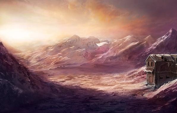 Картинка холод, снег, пейзаж, горы, дом, здание, арт, Max Antonov