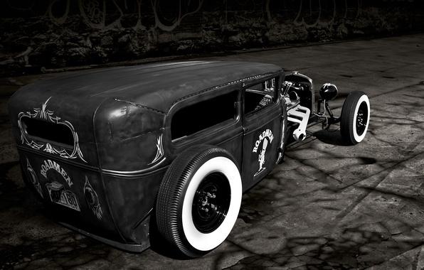 Картинка дорога, ретро, Ford, Форд, классика, roadster, 1929
