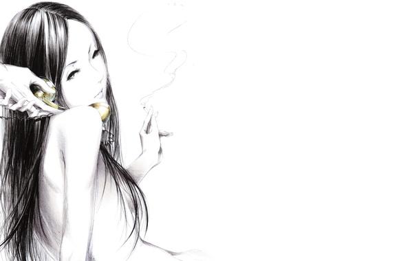 Картинка девушка, дым, Рисунок, руки, сигарета, телефонная трубка, art, Sawasawa