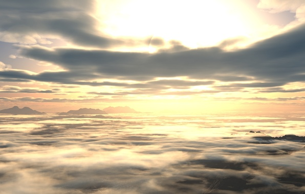 Картинка небо, облака, закат, рассвет, вид, высота, арт