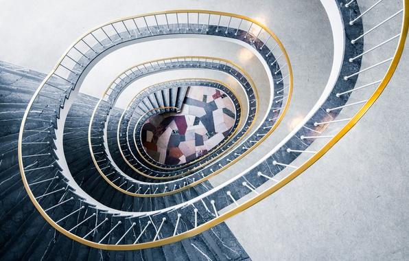 Картинка spiral, staircase, stair, handrail