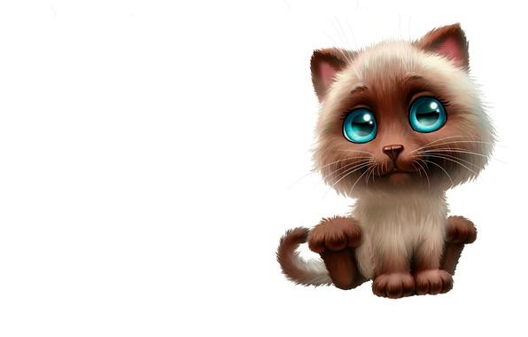 Картинка кошка, настроение, рисунок, минимализм, арт, котёнок, неко, детская