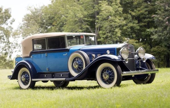 Картинка ретро, фон, Cadillac, передок, 1930, Кадилак, V16, Phaeton, by Fleetwood, All-Weather