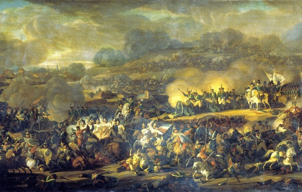 Картинка война, дым, пушки, солдаты, битва, русские, конница, французы, сражение под Лейпцигом, 6 октября 1813 года