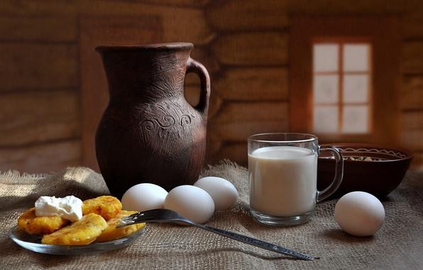 Картинка еда, яйца, молоко, пища, натюрморт, композиция