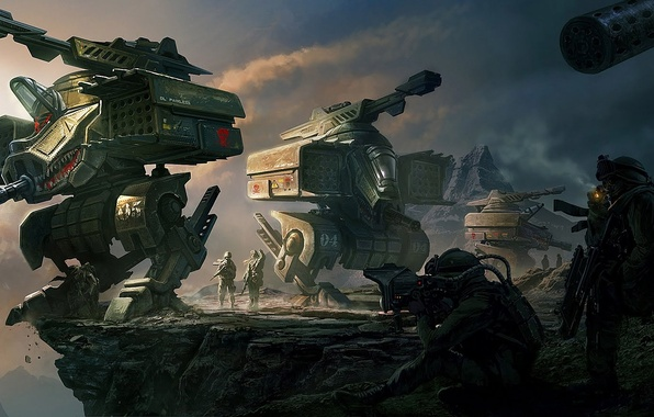 Картинка горы, оружие, скалы, механизм, робот, арт, солдаты, пропасть, Clinton Felker