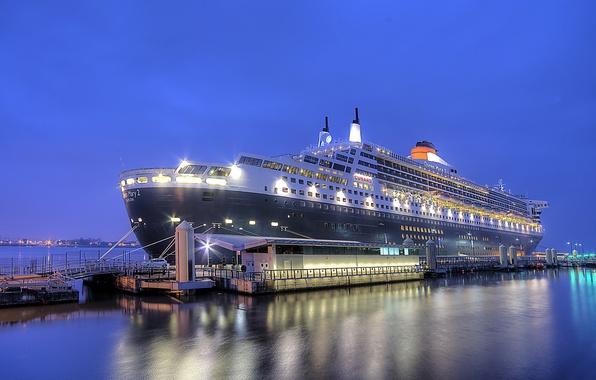Картинка ночь, город, порт, Queen Mary 2, Liverpool