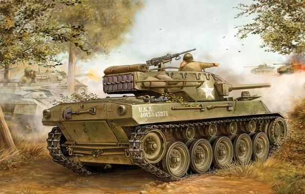 Картинка истребитель, арт, танк, пушка, США, summer, game, the, установка, самоходная, артиллерийская, САУ, Hellcat, Flames of …