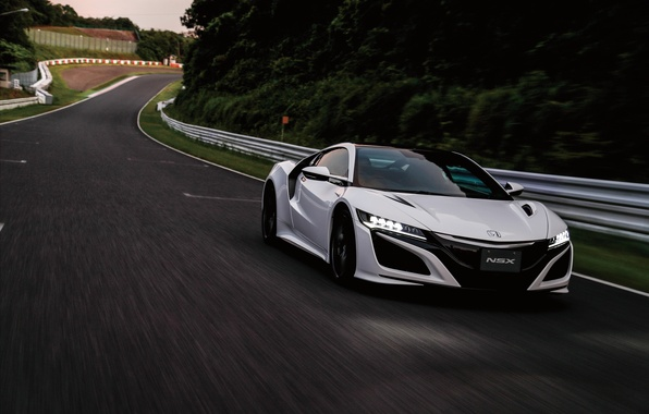 Картинка суперкар, white, Honda, supercar, автомобиль, road, хонда, передок, NSX