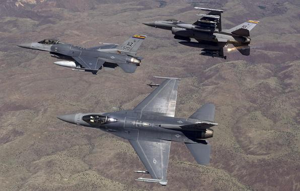 Картинка истребители, полёт, F-16, Fighting Falcon