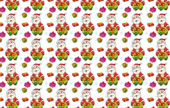 Фото обои Дед Мороз, подарок, текстура, праздник, Новый год