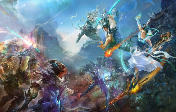 Картинка небо, девушка, горы, музыка, огонь, China, доспехи, красавица, Китай, битва, fantasy, мечи, воины, нефрит, Jade …