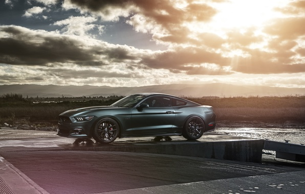 Картинка Mustang, Ford, Muscle, Car, Front, Sun, Sunset, Wheels, 2015, Velgen