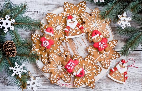 Картинка зима, звезды, снежинки, ветки, еда, ель, человечки, печенье, тарелка, сладости, ёлка, Christmas, шишки, фигурки, десерт, …