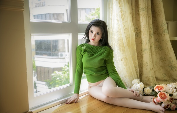 Картинка green, girl, rose, sexy, blouse, panties, flower, legs, wood, beautiful, wallpapers, window, erotic, asian, cute, …