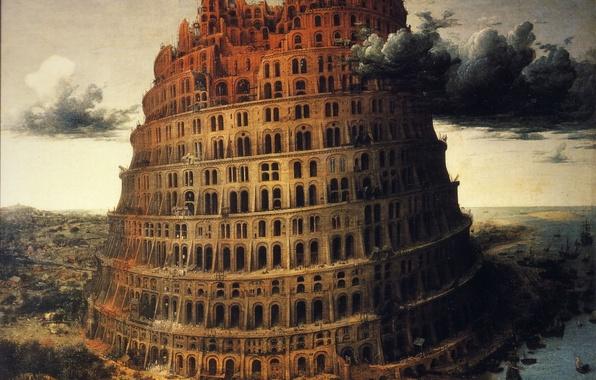 Картинка тучи, река, рисунок, башня, корабли, арки, вавилон