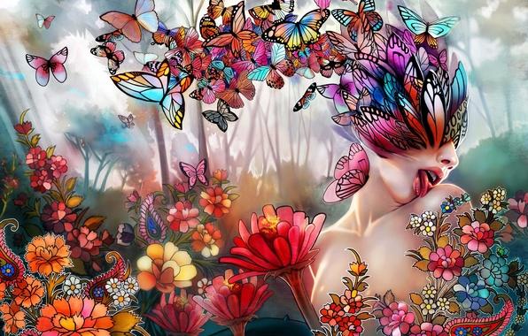 Картинка язык, девушка, бабочки, цветы, коллаж, арт