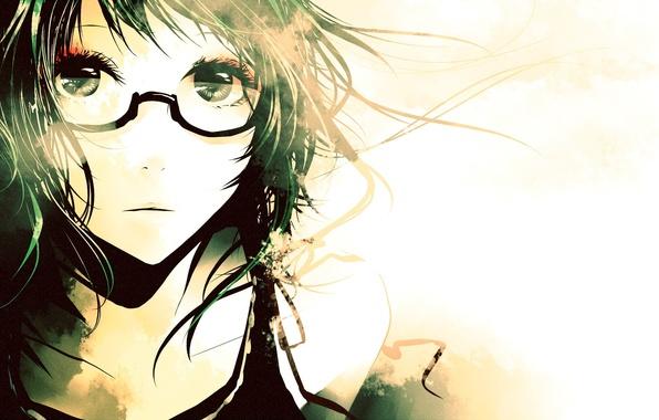 Картинка глаза, девушка, лицо, очки, Аниме, vocaloid, gumi