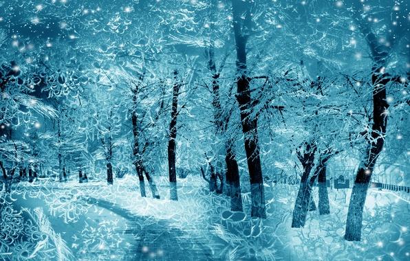 Картинка зима, снег, деревья, снежинки, природа, nature, winter, snow, tree