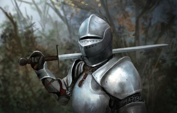 Картинка лес, листья, деревья, металл, оружие, меч, доспехи, арт, шлем, рыцарь, клинок