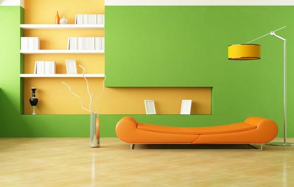 Картинка оранжевый, дизайн, стиль, комната, диван, лампа, интерьер, минимализм, вазы