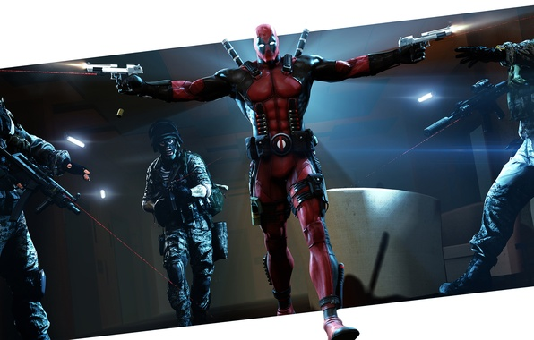 Картинка пистолеты, маска, герой, костюм, солдаты, злодей, наемник, автоматы, deadpool, marvel comics, wade wilson