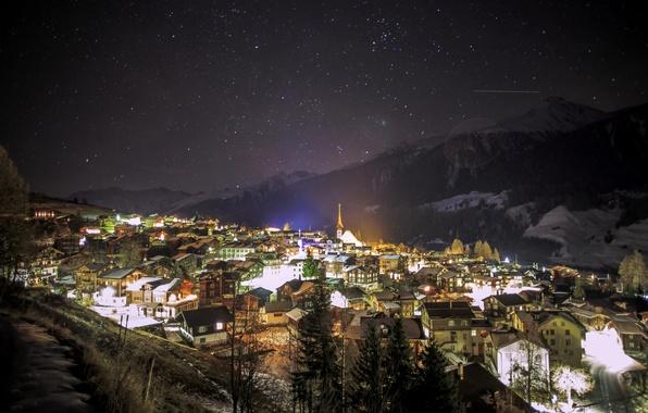 Картинка зима, небо, звезды, снег, горы, ночь, город, огни, Германия, Munster