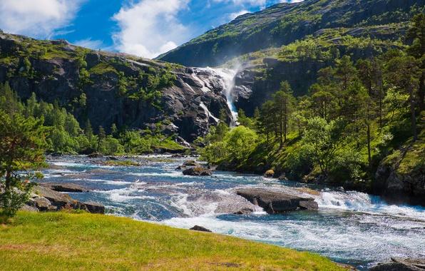 Картинка лето, природа, река, скалы