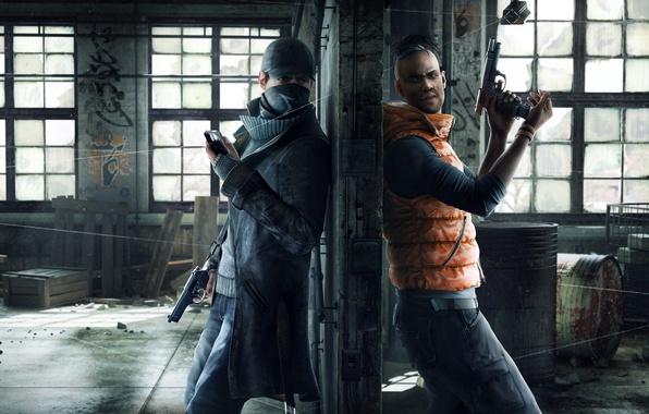 Картинка пистолет, оружие, окна, камера, маска, склад, телефон, плащ, Ubisoft, свитер, Watch Dogs, Aiden Pierce, Эйден …