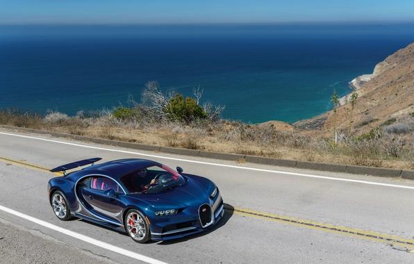 Картинка дорога, море, car, авто, Bugatti, road, sea, Chiron
