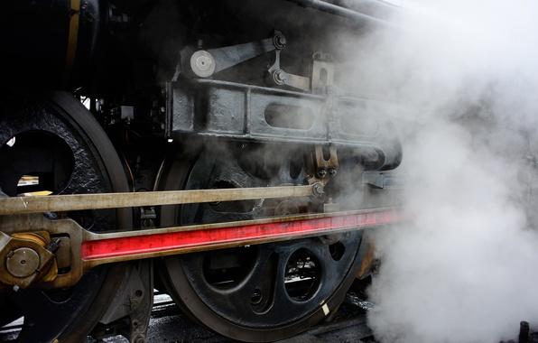 Картинка дым, рельсы, паровоз, Поезд