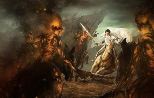 Картинка белый, конь, меч, воин, арт, монстры, всадник, битва, плащ