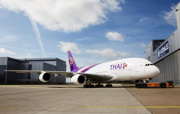 Картинка Облака, Самолет, День, Крылья, Авиация, A380, Airbus, Авиалайнер