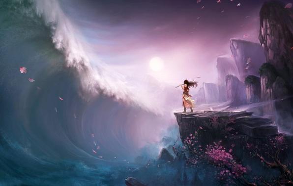Картинка девушка, дерево, скалы, волна, лепестки, сакура, цунами, арт, флейта