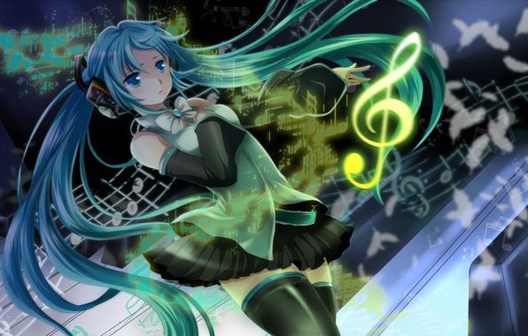 Картинка девушка, ноты, перья, наушники, арт, vocaloid, hatsune miku, бант, скрипичный ключ, вокалоид, mariwai, marireroy