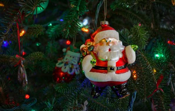 Картинка украшения, ветки, праздник, игрушка, новый год, рождество, огоньки, ёлка, санта клаус, дед мороз, хвоя, нарядная, …