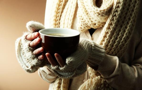 Картинка зима, девушка, тепло, фон, обои, настроения, руки, шарф, кружка, чашка, wallpaper, широкоформатные, background, полноэкранные, HD …