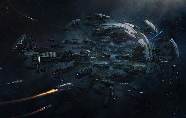 Картинка космос, корабли, звёзды, space, stars, game wallpapers, spaceships, Spider, Спайдер, Star Citizen, Звёздный гражданин, Система …