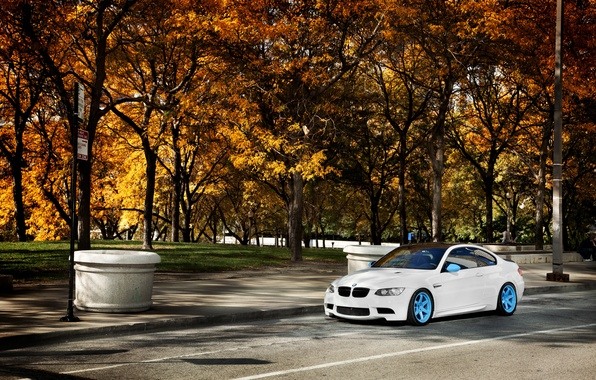 Картинка осень, белый, деревья, бмв, BMW, white, E92, IND
