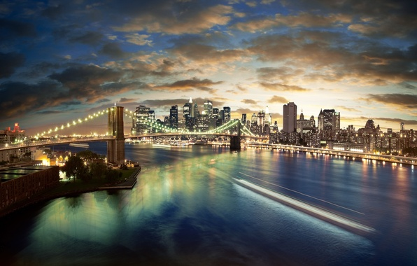 Картинка ночь, city, город, огни, нью-йорк, сша, new york, usa, бруклинский мост, brooklyn bridge