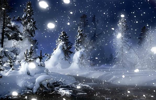 Картинка зима, лес, снег, деревья, снежинки, ночь, ручей, сугробы, снегопад