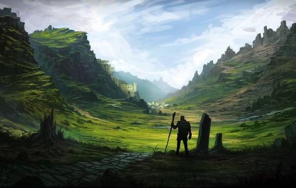 Картинка горы, река, замок, человек, долина, силуэт, арт