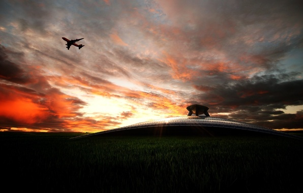 Картинка небо, авиация, транспорт, пейзажи, техника, самолёты, аэропорты