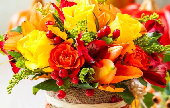Картинка цветы, фото, розы, букет, тюльпаны, альстрёмерия