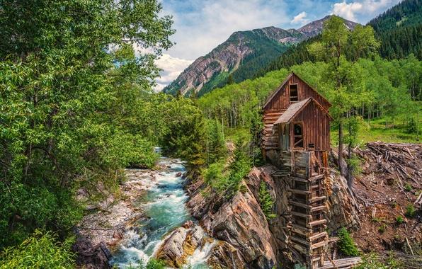 Картинка лес, деревья, горы, река, Колорадо, водяная мельница, Colorado, Crystal, Crystal Mill, Crystal River, Кристал