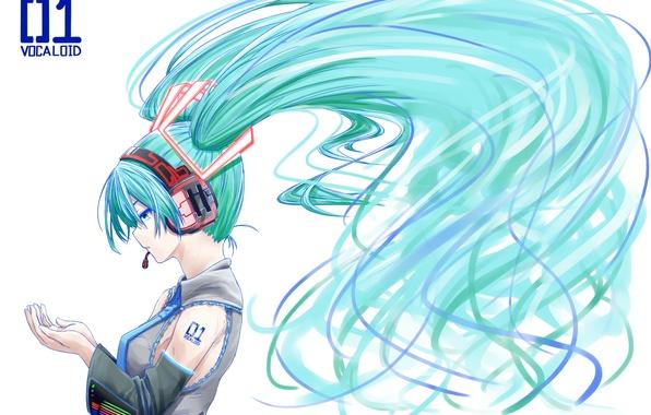 Картинка девушка, аниме, наушники, арт, галстук, профиль, микрофон, vocaloid, hatsune miku, вокалоид, omaru09
